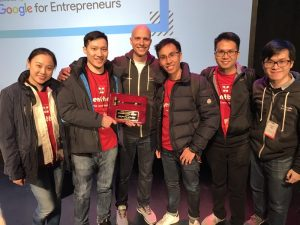 The winning Agentbong team at Startup Grind
